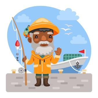 釣り竿を持つ漫画漁師