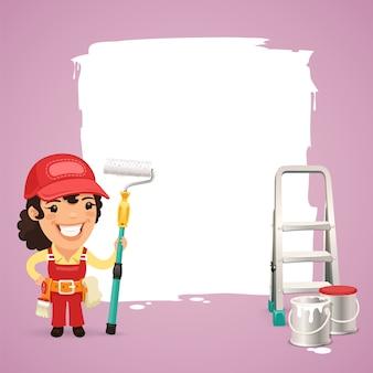 テキストボックスを持つ女性画家