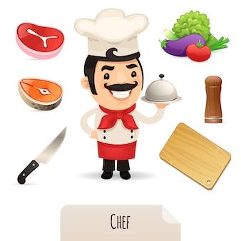 Набор иконок мужского шеф-повара