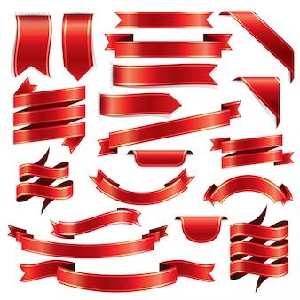 赤いリボンの装飾パターンセット