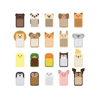 動物のメモ帳の形ベクトル