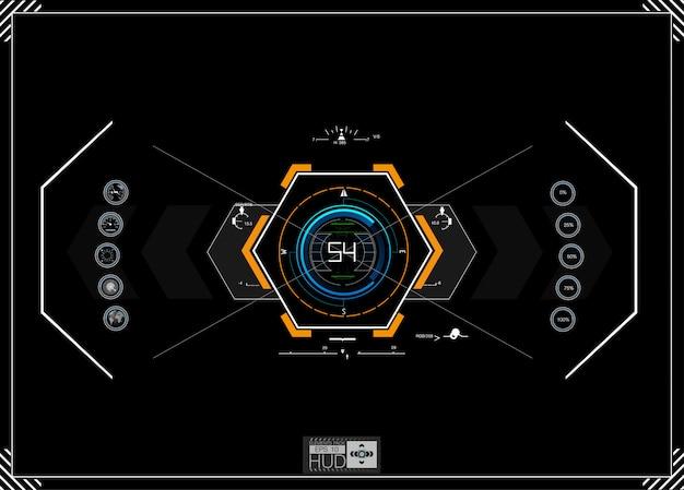 ヘッドアップディスプレイとして未来的な青いインフォグラフィック。