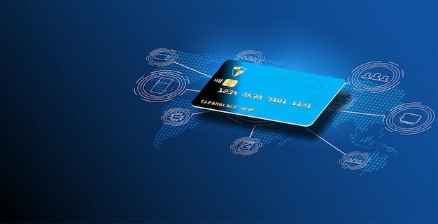 マネーカードの転送と金融取引。クレジットカードの背景