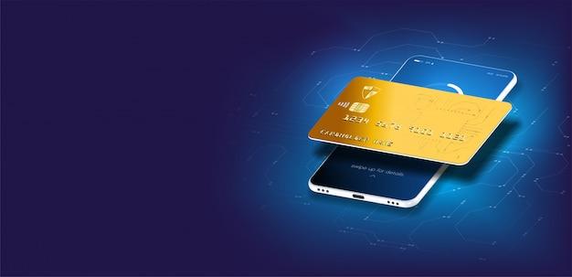 マネーカードの転送と金融取引。図アイソメ図スタイル。オンライン支払い、電子メールによる電子請求書支払い通知、クレジットカード付きの携帯電話。