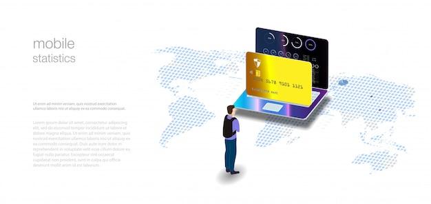 分析データと投資。アイソメトリックラップトップの分析データ。オンライン統計とデータ分析。デジタルマネー市場、投資、金融、取引。