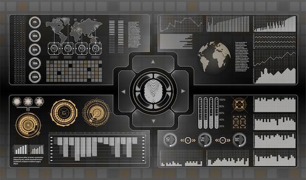 未来のユーザーインターフェイス。貨物輸送と輸送のインフォグラフィックス