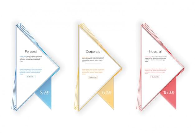 Три тарифа баннеры. таблица веб-цен. для веб-приложения. прайс-лист.