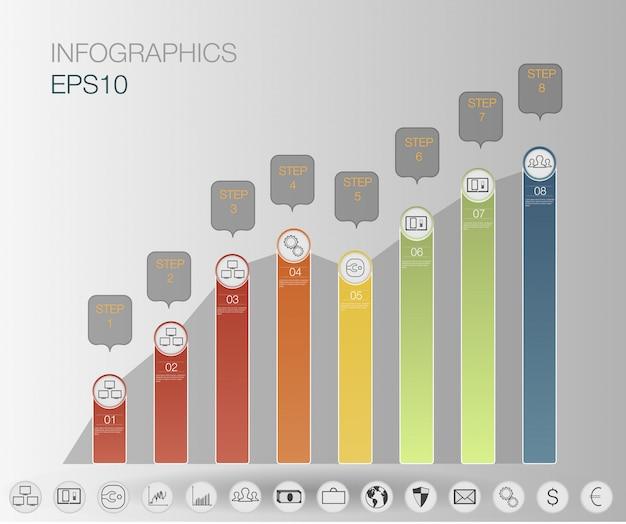 Инфографика графика, шаги бизнес, граф финансы + установить значок. инфографика шаблон.