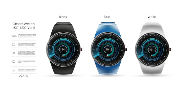 スマートな時計、技術機能、テンプレートテキストの現実的なイラスト。スマートな時計のイラスト。