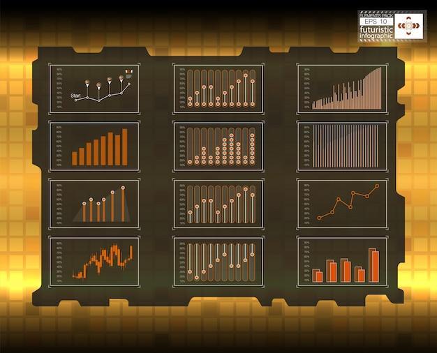未来的なユーザーインターフェイス。貨物輸送および輸送のインフォグラフィック。自動車インフォグラフィックのテンプレート。抽象的な仮想グラフィックタッチユーザーインターフェイス。