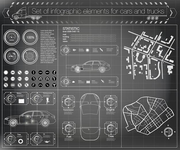 未来のユーザーインターフェイス。貨物輸送と輸送のインフォグラフィックス。