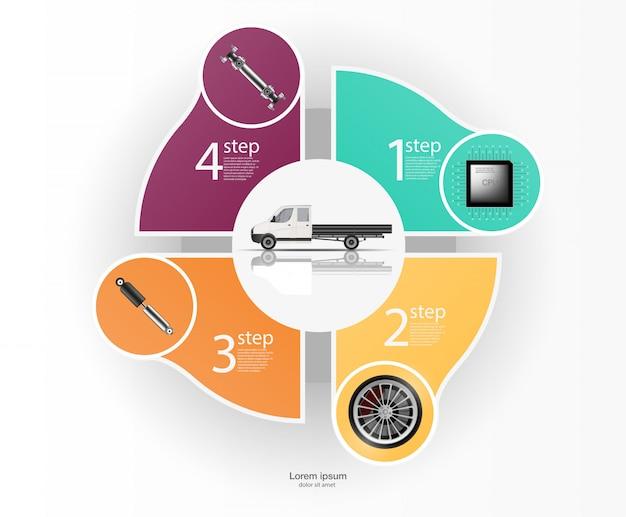 貨物輸送および輸送のインフォグラフィック。自動車インフォグラフィックのテンプレート。抽象的な仮想グラフィックタッチユーザーインターフェイス。車の診断。テンプレートモバイル車修理アプリ。