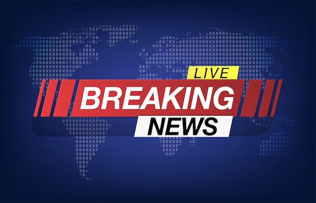 速報ニュースの背景スクリーンセーバー。最新ニュースは世界地図の背景にあります。