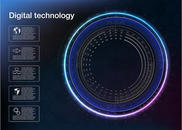 スパイラル渦流データフローの循環、ネオン、ダーク、紫外線、抽象的な背景。