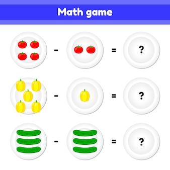 ベクトルイラスト数学的ゲームの教育子供のためのロジックタスク引き算。野菜。トマト、コショウ、きゅうり
