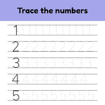 ベクトルイラストセット。幼稚園や幼稚園の子供のためのトレース行番号。