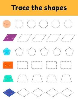 ベクトルイラスト幼稚園、就学前、学齢期の子供向けの教育用トレーシングワークシート。かわいい幾何学的形状をなぞります。破線