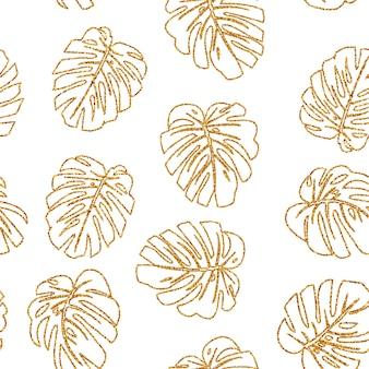 Бесшовные модели блеск текстуры золото тропическая линия листьев монстера на белом.
