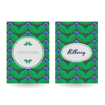 ポストカード、ポスター、バナーのセット。花青い森の夏のベリー