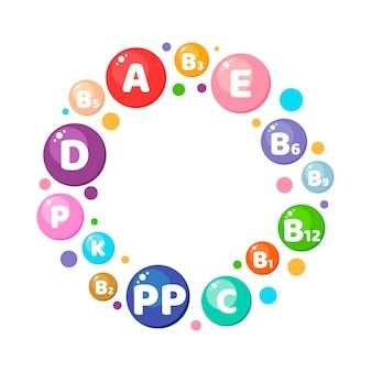 Инфографика. круг. витамины, минералы, питательные вещества.
