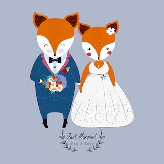 かわいいウェディングカップルのキツネのウェディングドレスとフラワーブーケ