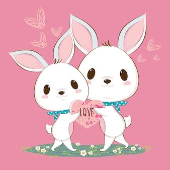 かわいいウサギのウサギのカップル