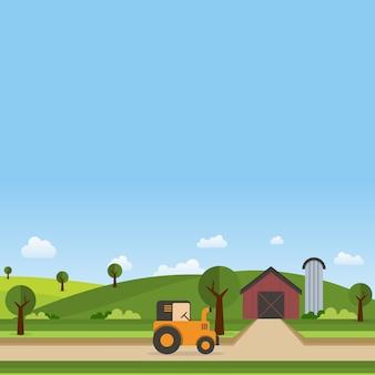Зеленый пейзаж фермы иллюстрация плоский дизайн