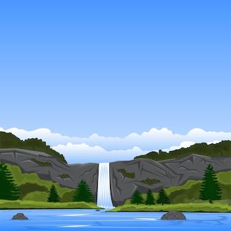 崖の滝と湖の景観