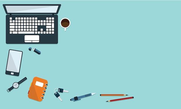 オフィスの机とフラットなスタイルのトップビューの静止のイラスト。テキストの空き領域