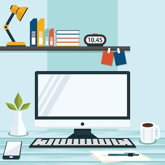 オフィスワークスペーステーブルコンピュータービジネスフラットデザインのイラスト