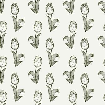 Картина тюльпана безшовная в стиле чертежа руки.