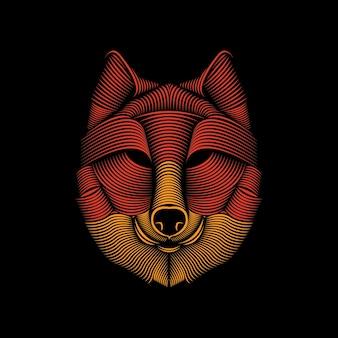 オオカミのラインアートイラスト