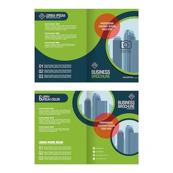 ビジネス二つ折りパンフレット、チラシ、カバー、アニュアルレポートデザイン