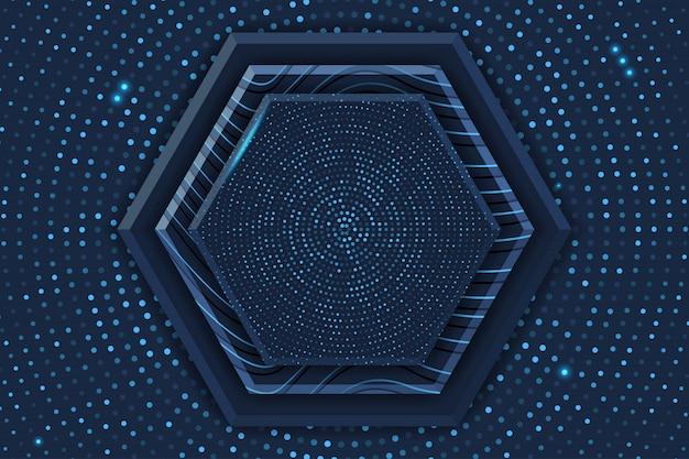 輝くハーフトーンパターンと青い六角形の豪華な背景