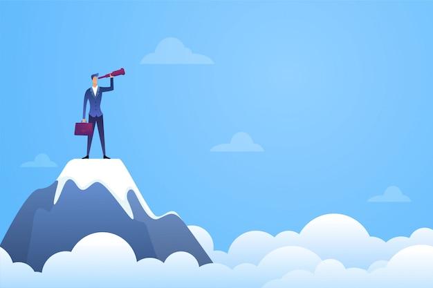 Успешный бизнесмен смотрит в телескоп на вершине горы. символ найма и найма плоской иллюстрации
