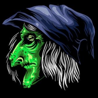 Уродливая ведьма-голова хэллоуин