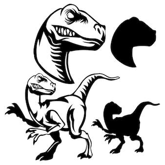 黒と白のラインアートラプトルロゴ