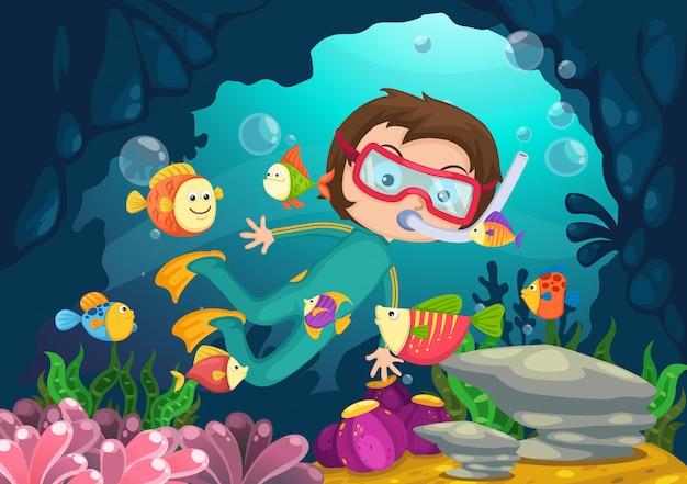 Мальчик подводное плавание вектор