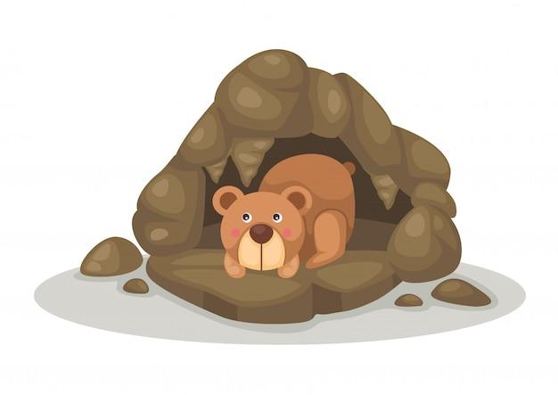 洞窟のベクトルで寝ているクマ