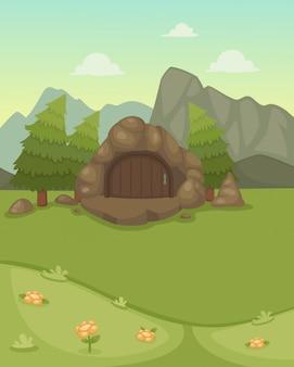 Пейзаж с пещерным вектором
