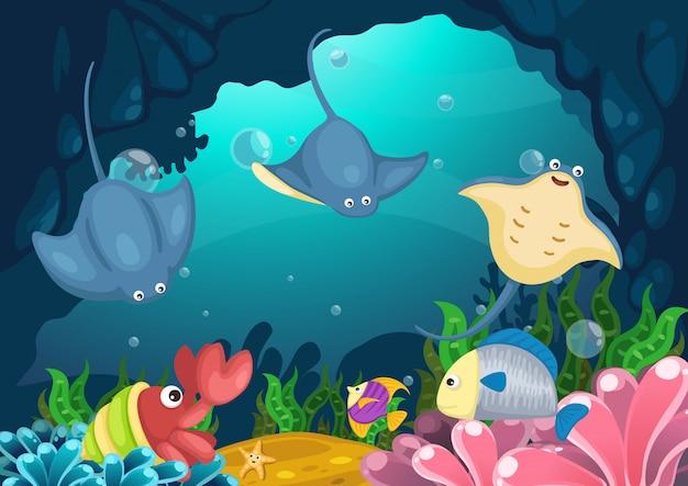Морская жизнь под морским вектором