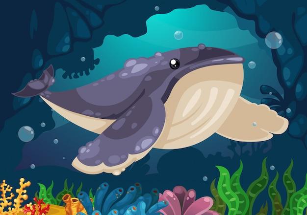 海のベクトルの下のクジラ