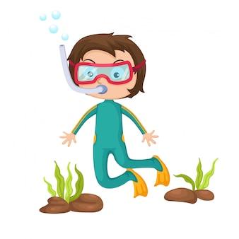 Мальчик подводное плавание