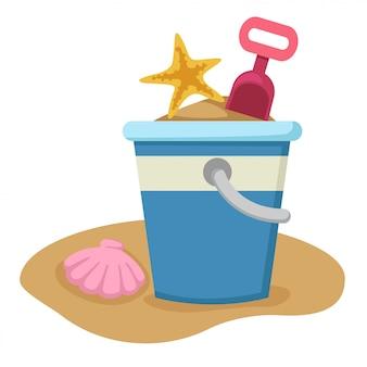 砂のバケツとシャベル