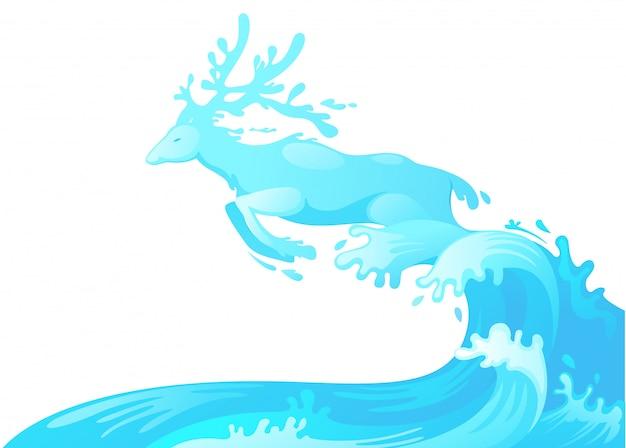 水から飛び出す鹿