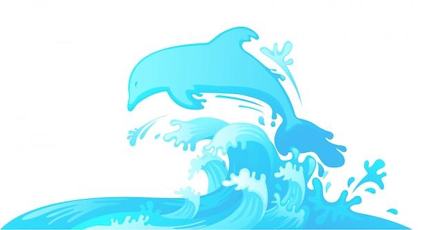 水から飛び出すイルカ