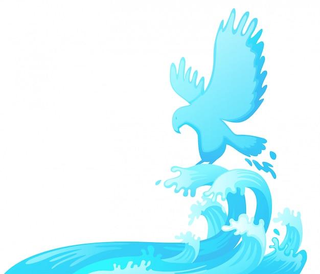 水から飛び出す鷲