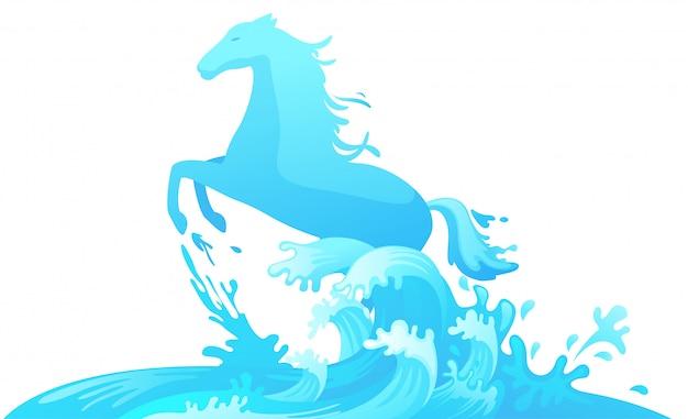 水から飛び出す馬