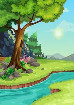 川の背景を持つ森林のイラスト