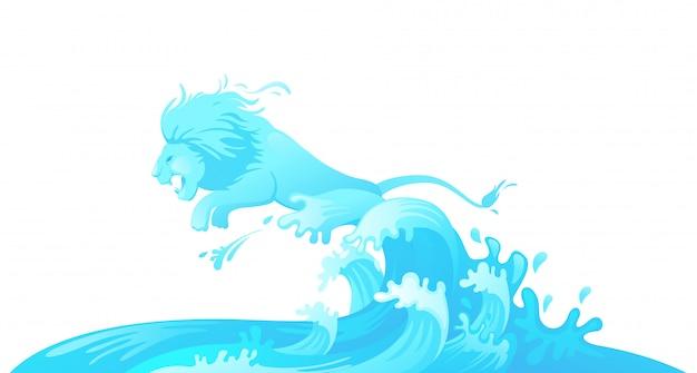 水から飛び跳ねるライオン